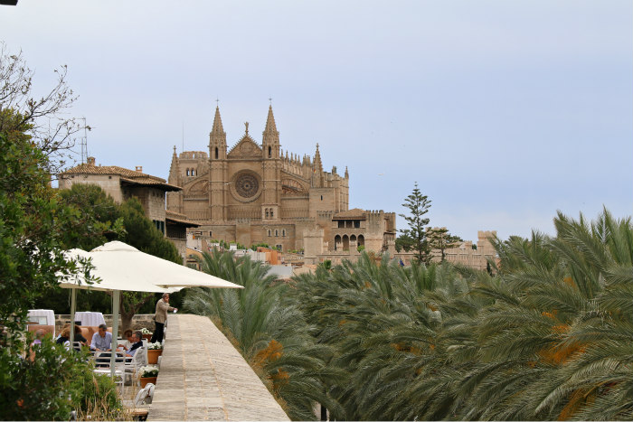 Palma Majorque Majorca Balearic view of the cathedral from es baluard restaurant