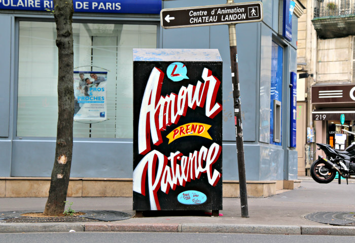 paris france canal saint martin street art amour patience