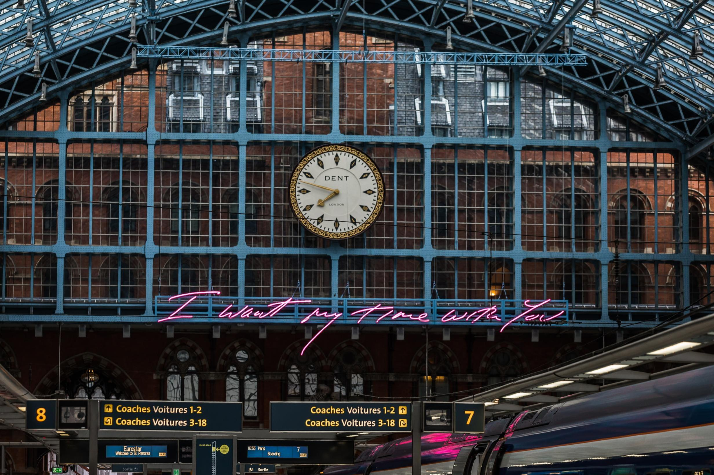 tracey emin I want my time with you neon sign saint pancras international london